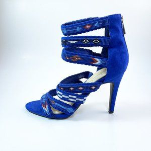 JESSICA SIMPSON BLUE SUEDE SEED BEAD STRAPPY STILETTO HEELS SOUTHWEST